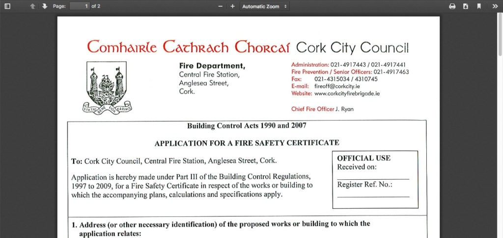 Fire Safety Cork Application Form Direct Link